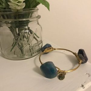 Bourbon & Boweties Blue/Purple Agate Stone Bangle